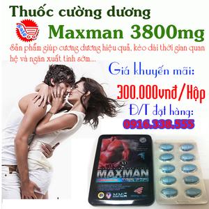 Thuốc cường dương thảo dược Maxman 3800mg Giá tốt nhất không hiệu quả hoàn tiền