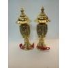 Đôi đèn thờ cúng bóng điện đỏ, đèn quả dứa bằng đồng 40cm