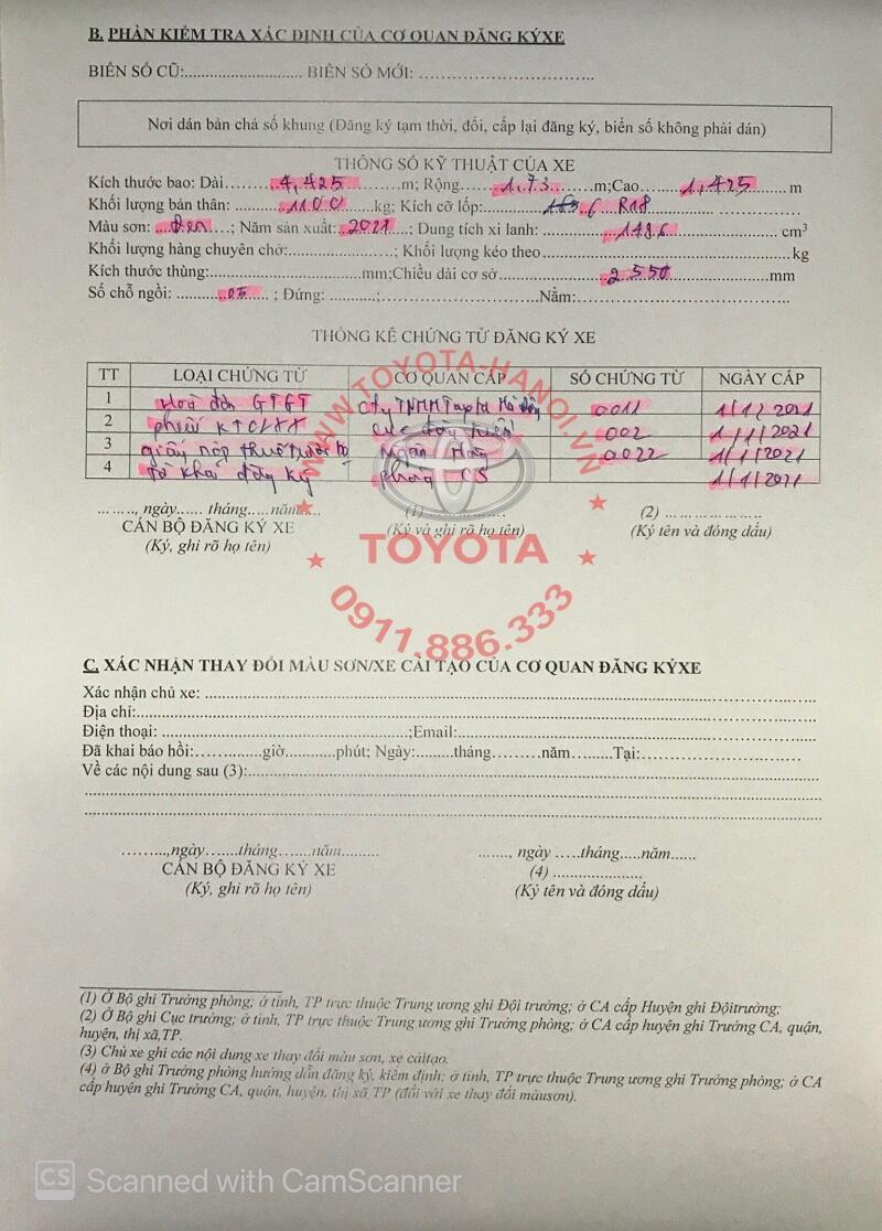 Mẫu tờ khai đăng ký xe ô tô ở Hà Nội mới nhất 2021 tờ 2