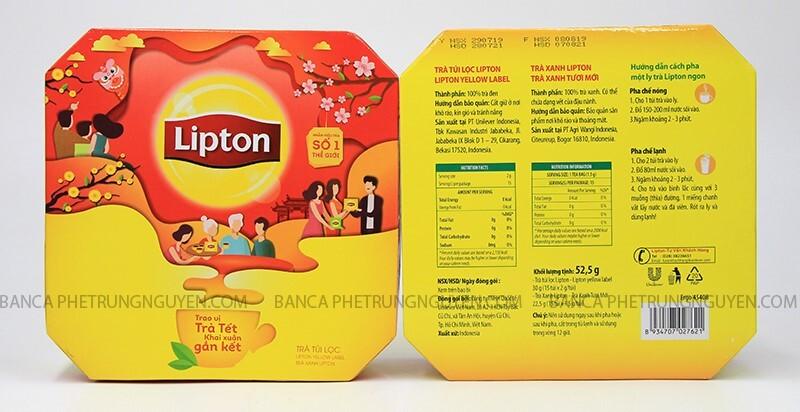 Trà Lipton nhãn vàng hộp bát giác Tết