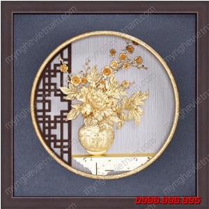 Tranh hoa mẫu đơn cắm bình hoa 3D dát vàng 24K cao cấp