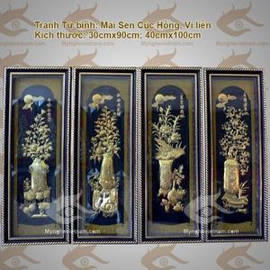 Trang trí nhà cửa với tranh Tứ Quý, Tứ Bình, Tứ Linh đón tết