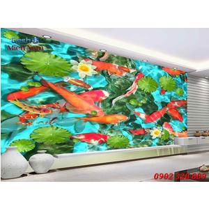 Tranh 3d Mẫu Cá Koi đẹp CKM141