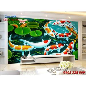 Tranh 3d Mẫu Cá Koi đẹp CKM162