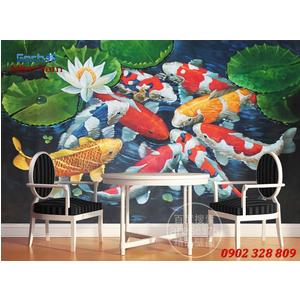 Tranh 3d Mẫu Cá Koi đẹp CKM166