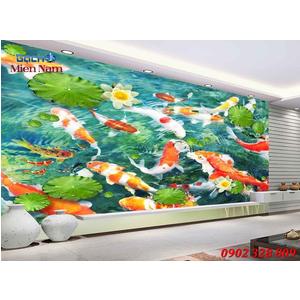 Tranh 3d Mẫu Cá Koi đẹp CKM67