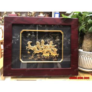 Tranh bát mã dát vàng 25x32cm làm quà tặng phong thủy