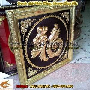 Tranh chữ Phúc Rồng, chữ Phúc khung đồng liền, kt 70x70cm