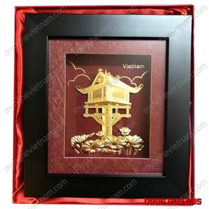 Tranh chùa 1 cột dát vàng quà tặng văn hóa Hà Nội
