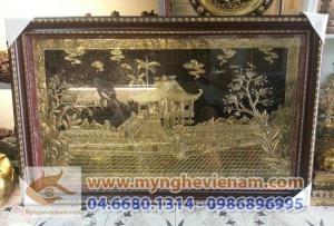 Tranh chùa một cột 60x80cm, tranh quà tặng lưu niệm bằng đồng