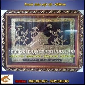 Tranh chùa một cột 60x80cm, tranh đồng quà tặng mỹ nghệ