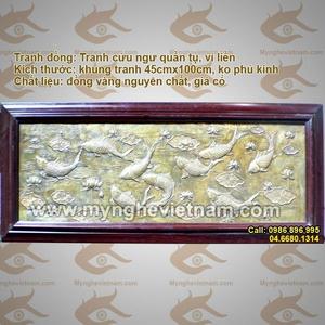 Tranh cửu ngư quần tụ 60x70cm bằng đồng nguyên tấm