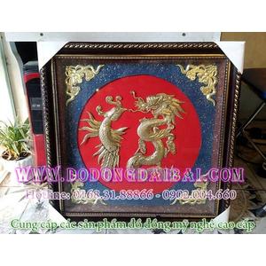 Tranh chữ Lộc rồng phượng khung 60x60cm