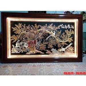 Tranh đồng vinh hoa phú quý - chim điểu và cây mai vàng