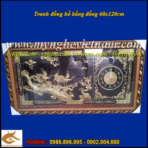 Tranh đồng chim hạc đậu cành tùng có đồng hồ