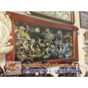Tranh phong thủy Thuận buồm xuôi gió,song long chầu nguyệt,tranh hoa sen