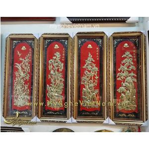 Tranh đồng tứ quý nền đỏ 40x100cm