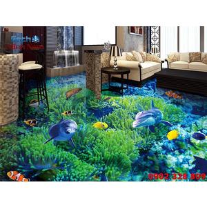 Tranh Gạch 3D Lát Nền Cá Heo