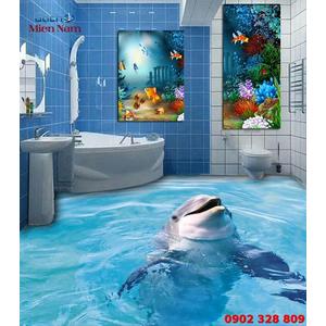 Tranh Gạch 3D Lát Nền Cá Heo SDD45