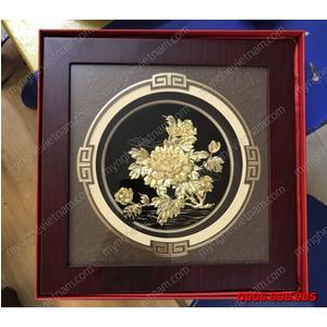 Tranh hoa mẫu đơn dát vàng 24K quà tặng để bàn cao cấp