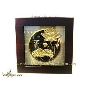 Tranh hoa sen chuồn chuồn mạ vàng kt 20x20cm