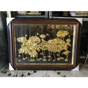 Tranh hoa sen dát vàng 55 x 75cm