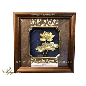 Tranh hoa sen mạ vàng quà tặng cao cấp 20x20cm