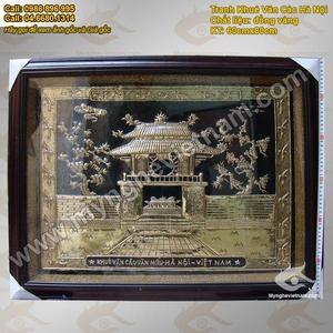 Tranh Khuê Văn Các Hà Nội 60x80cm, Tranh đồng quà tặng mỹ nghệ Việt