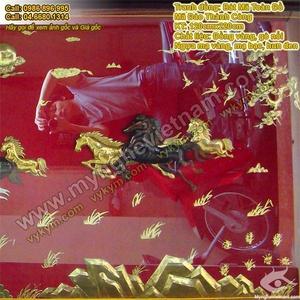 Tranh Mã Đáo Thành Công, bát mã toàn đồ, mạ vàng và mạ bạc, tranh đồng phong thủy, tranh đồng cao cấp