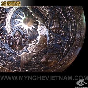 Tranh mặt trồng đồng Bản đồ Việt Nam 1m chạm nổi