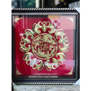 Tranh ngũ phúc lâm môn bằng đồng kích thước 50cm nền đỏ