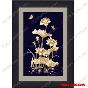 Tranh hoa sen nhiều bông dát vàng 24K kt 25x32cm