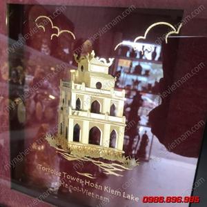 Tranh tháp rùa hồ gươm dát vàng quà tặng văn hóa Hà Nội