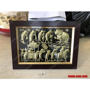 Tranh đám cưới chuột bằng đồng 40x50cm