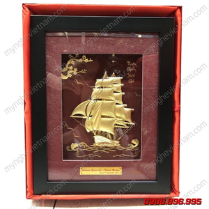 Tranh thuyền buồm quà tặng dát vàng 3D cao cấp