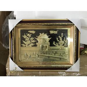 Tranh quà tặng khuê văn các bằng đồng vàng 30 x 40cm