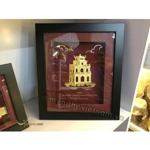 Tranh quà tặng tháp rùa dát vàng cao cấp 24k