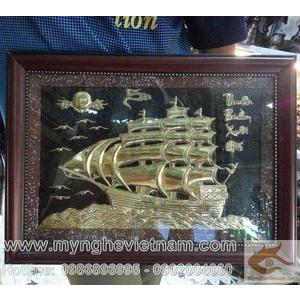 Tranh thuận buồm xuôi gió, tranh đồng thuyền buồm kt 30x40cm