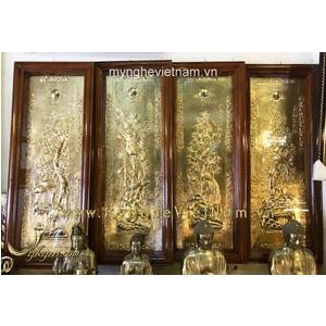Tranh tứ quý bằng đồng nguyên bản 40x100cm