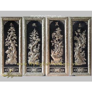 Tranh tứ quý khung đồng cao cấp 40x100cm