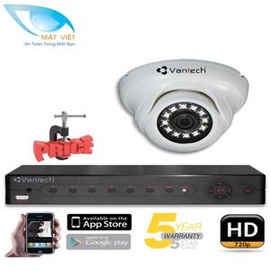 Trọn bộ 1 Camera hồng ngoại HD Vantech