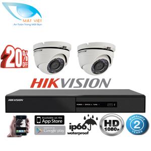 Trọn bộ 2 camera hồng ngoại Full HD hãng HIKVISION