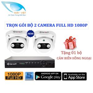 Trọn bộ 2 Camera hồng ngoại FULL HD Vantech