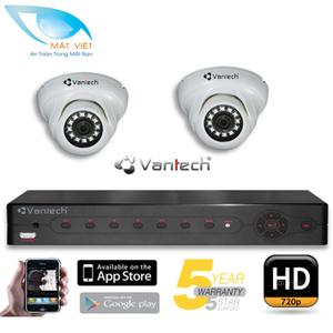 Trọn bộ 2 Camera hồng ngoại HD Vantech