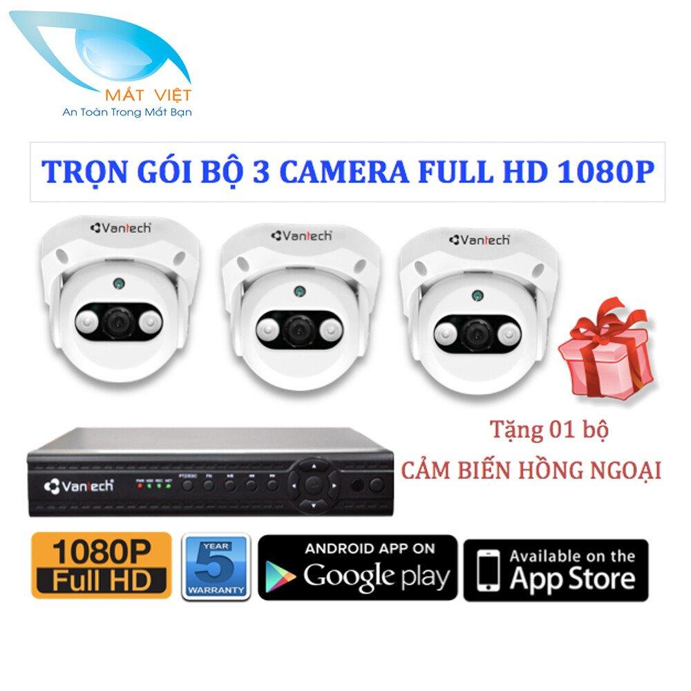 Trọn bộ 3 Camera hồng ngoại FULL HD Vantech