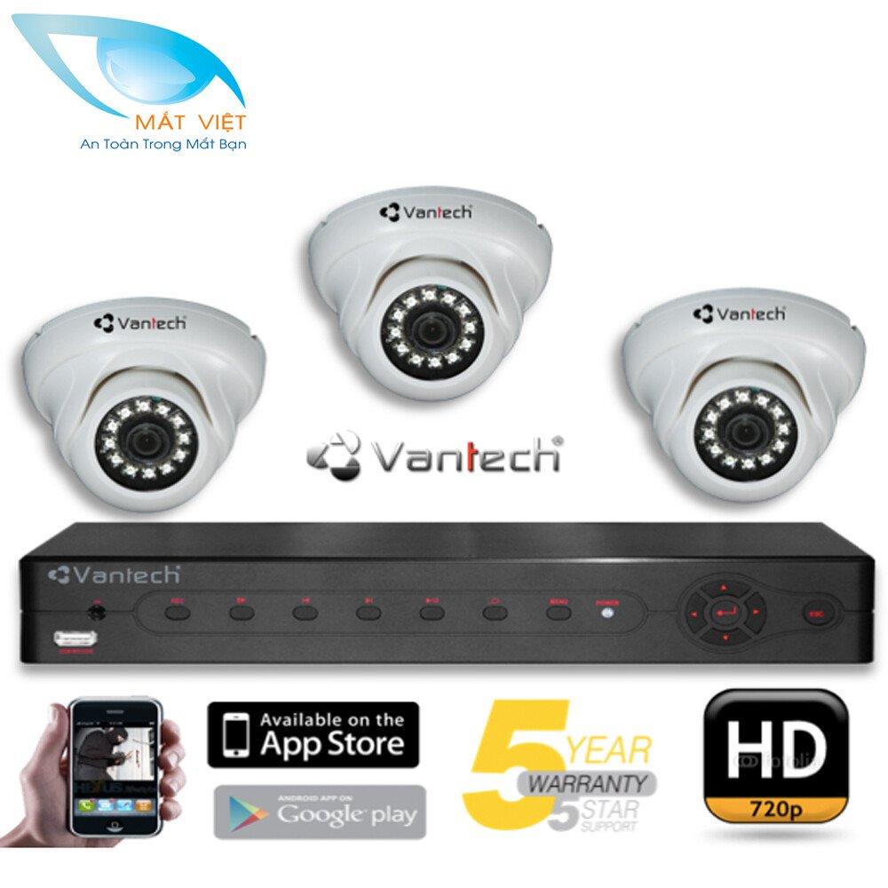 Trọn bộ 3 Camera hồng ngoại HD Vantech