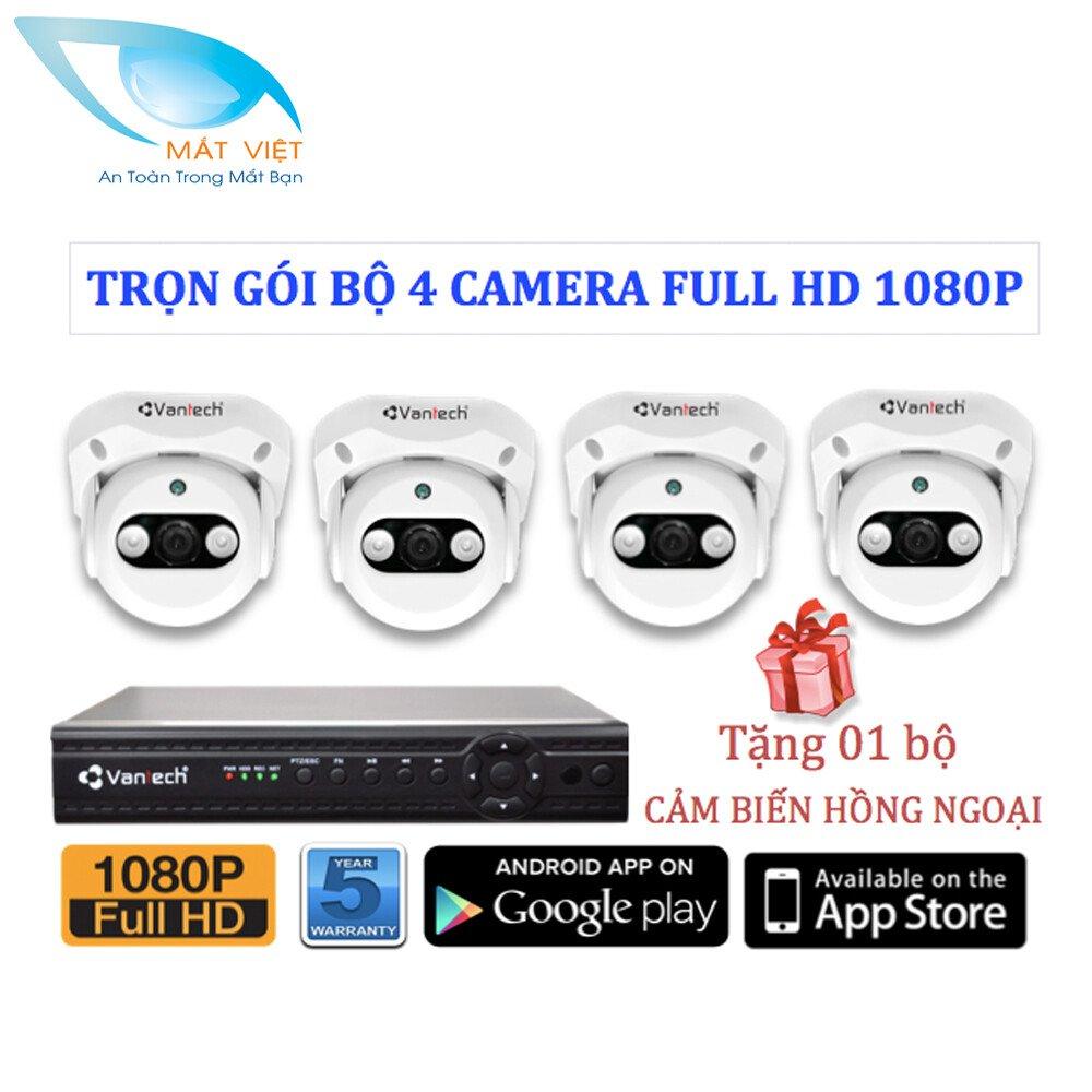 Trọn bộ 4 Camera hồng ngoại FULL HD Vantech