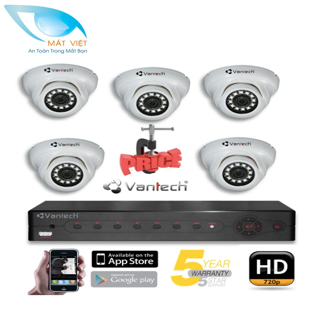 Trọn bộ 5 Camera hồng ngoại HD Vantech