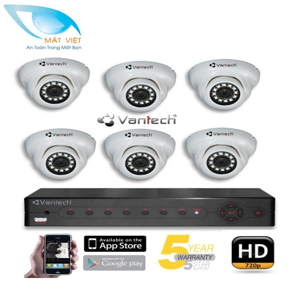 Trọn bộ 6 Camera hồng ngoại HD Vantech