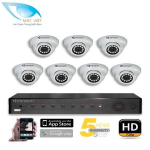 Trọn bộ 7 Camera hồng ngoại HD Vantech